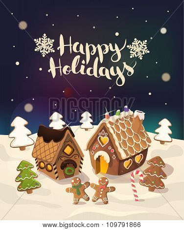 Cristmas Background with gingerbread houses, candy, and little men, Vector.