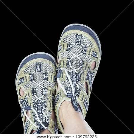 Isolated Feet On Casual Trekking Footware