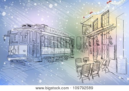 Street Cafe And Tram On Christmas City