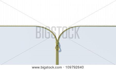 Gold zipper on white