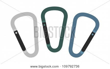 Set of carabiner icons. Silver, green, blue