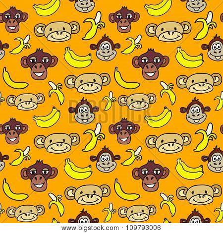 Seamless Pattern With Cute Faces Of Monkeys And Bananas. 2016 Year Of The Monkey