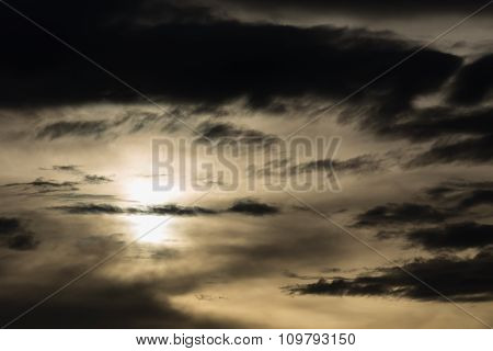 Black Cloud In Darkness Sky, Night Sky Of Halloween Background