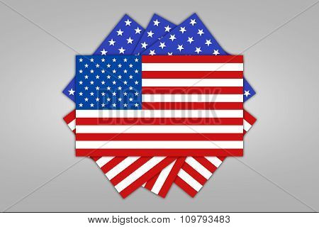 USA flag on light background.
