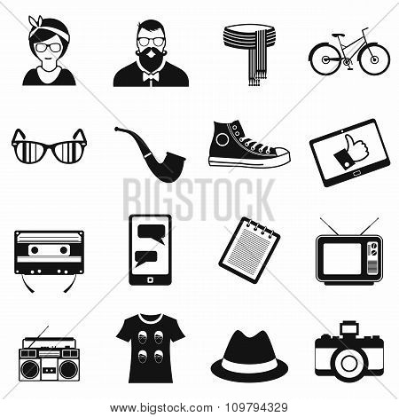 Hipster style black icons set