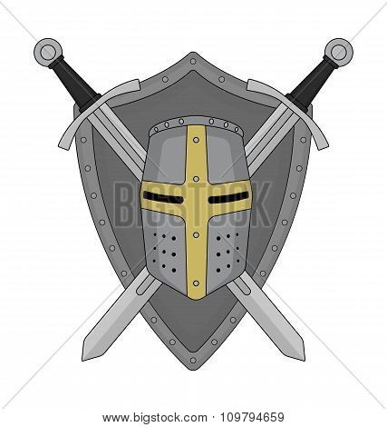 Two crossed swords shield and helmet heraldry emblem