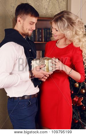 Tender Couple In Elegant Clothes,posing Beside Christmas Tree At Cozy Home