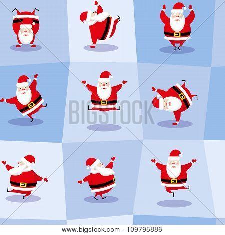 Vector Seamless Background Dancing Santa Claus