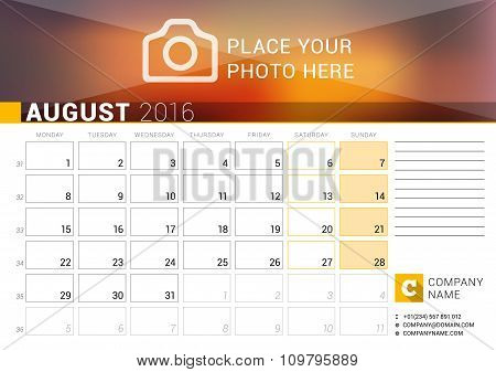 Desk Calendar For 2016 Year. August. Vector Design Print Template With Place For Photo, Logo And Con