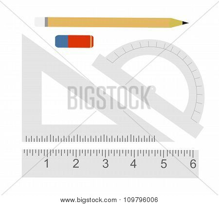 Education set. Pencil, eraser, protractor, triangle ruler, liner