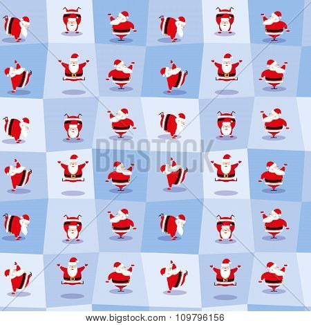 Vector Seamless Background  Funny Santa Claus Different Character Dancing Does Morning Exercises