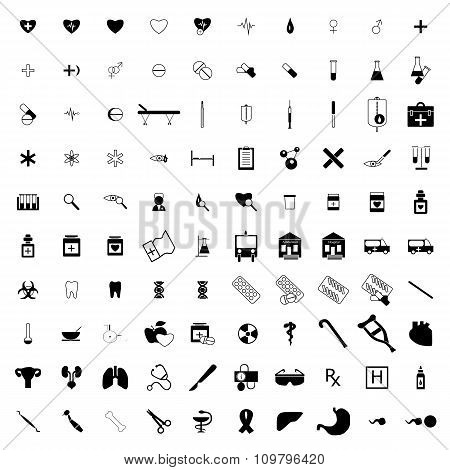 100 Medical icons set