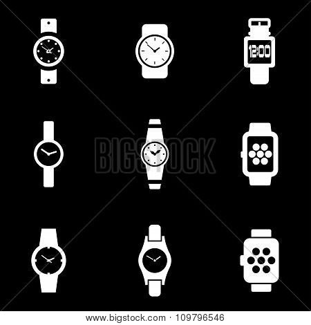 Vector White Wristwatch Icon Set