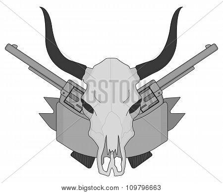 Wild west cow skull, pistols, ribbon logo. Gray scale