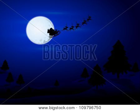 Santa Claus Flying Over The Moon