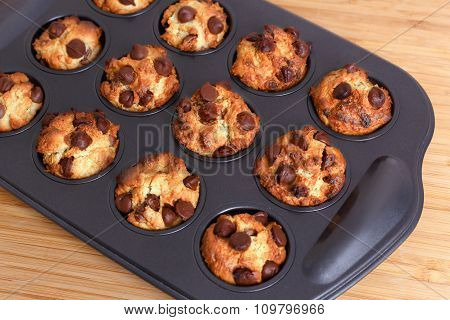 Muffins With Chocolate Chips In Baking Tray