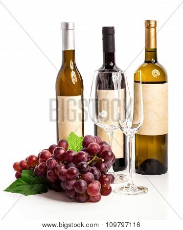 Bottle Of Red And White Wine With Grapes, White Background