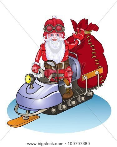 Santa goes on a snowmobile, it is lucky people gifts.