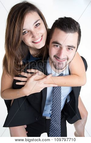 Portrait Of Beautiful Young Couple. Isolated On