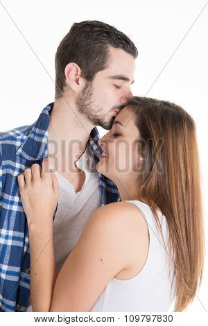 Casual And Cheerful In Love Couple Isolated