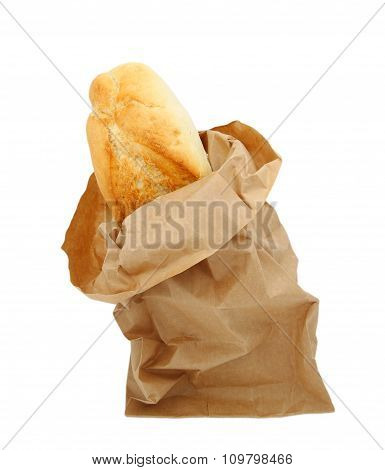 Freshly Baked Bread In A Paper Bag With Clipping Path