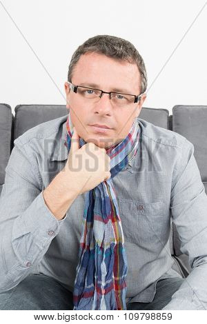 Portrait Of A Handsome Man With Glasses