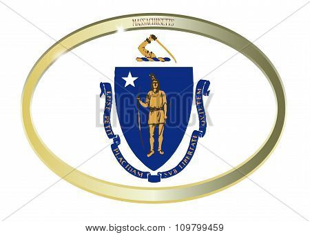 Massachusetts State Flag Oval Button