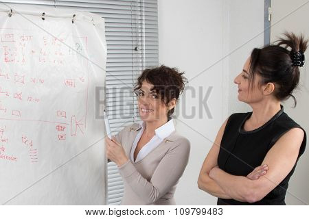 Business Women In Front Of A Statistics Board