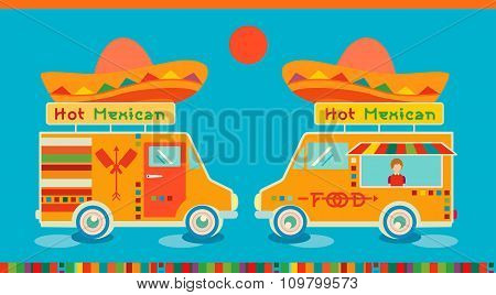 Mexican food icon food car.