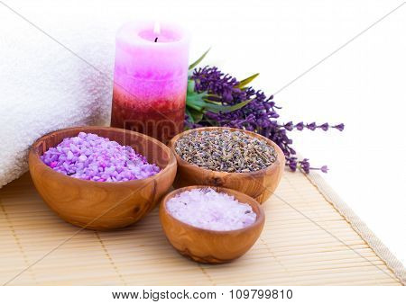 Lavender Bath Salt, Isolated On White Background