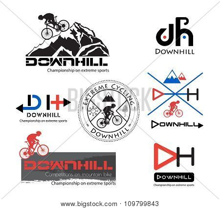 Logo Bike Downhill, Mountain bike logo isolated.