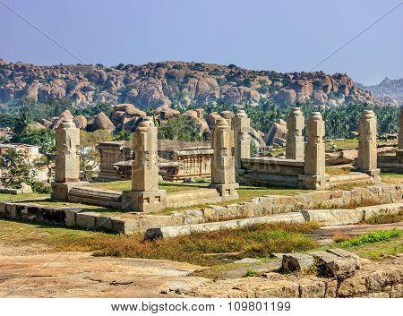 Ruins of Hampi near Hemakuta hill sunset point Hampi Karnataka India.