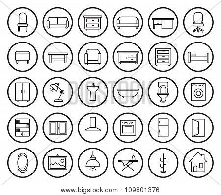 House furniture linear icons set