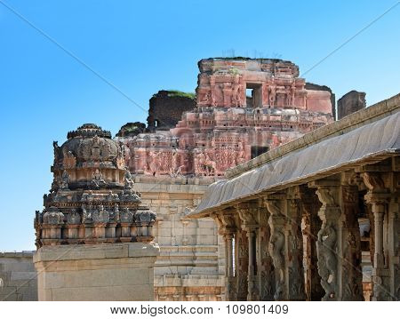 View of the temple of Bala Krishna at Hampi Karnataka India. The prominent historical Site is the Balakrishna temple built by the ruler Krishnadevaraya in 1513.