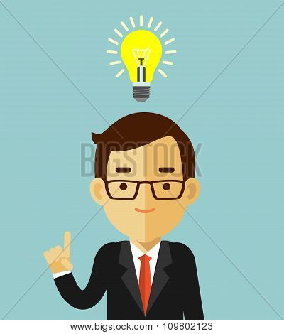 Big idea concept with man and lightbulb
