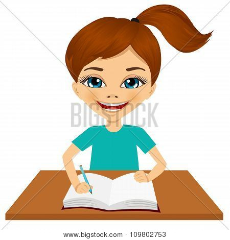 cute little caucasian student girl writing