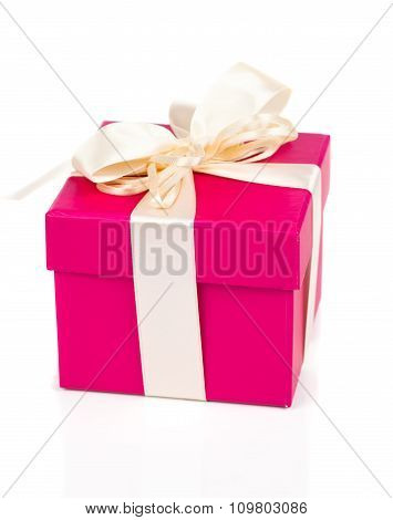 Gift Box Present With Satin Bow Isolated On White