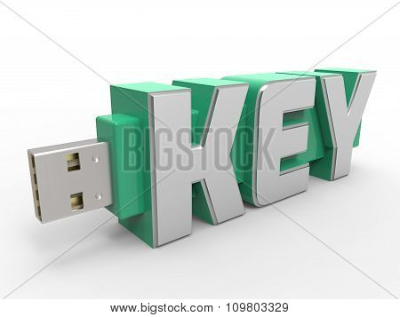 Usb Flash Key Drive With Text