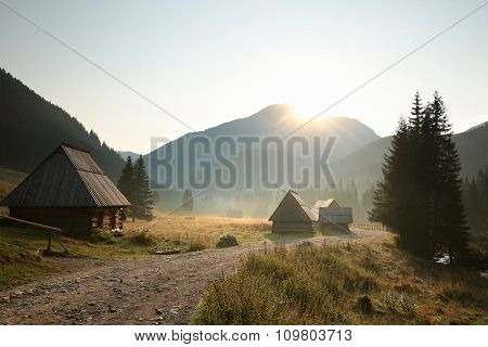 Huts along the trail in Tatra Mountains