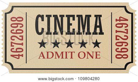 Retro Cinema Ticket Isolated