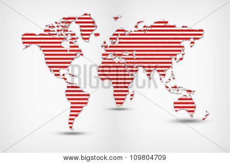 Red World Map From Thin Line.