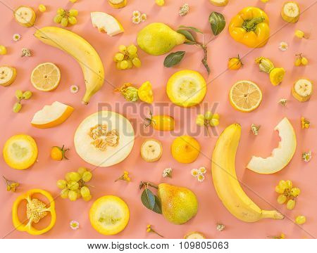 Collection Of Fresh Yellow Fruit And Vegetables