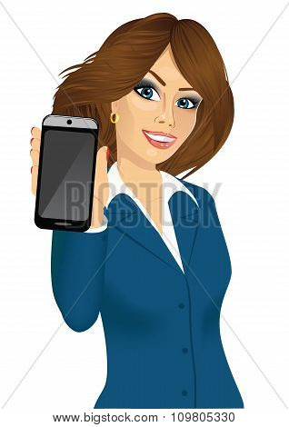 businesswoman displaying her smartphone