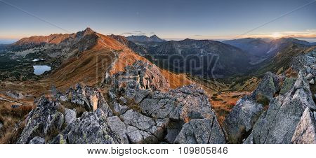 Mountain Sunset Panorama From Peak - Poland Tatras
