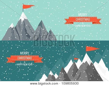 Christmas card with mountains