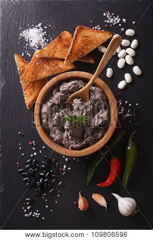 Mexican Cuisine: Pate Of Black Beans. Vertical Top View