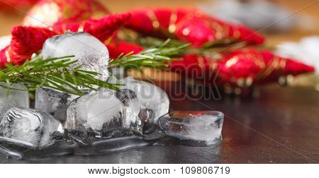 Melted Ice On Slate Plate