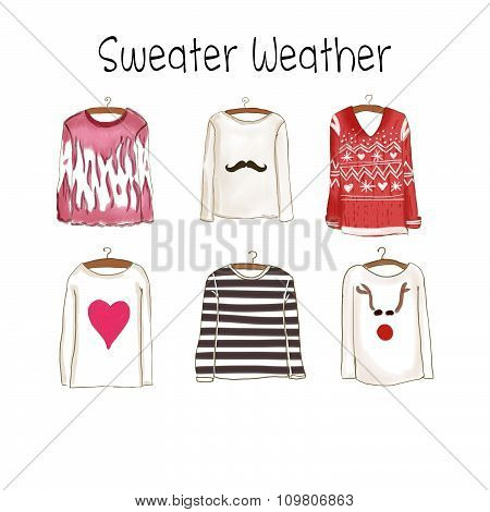watercolor Fashion Illustration -  Collection of different sweaters