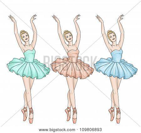 Group of Ballerina On Pointe - Ballet Dancers background Illustration