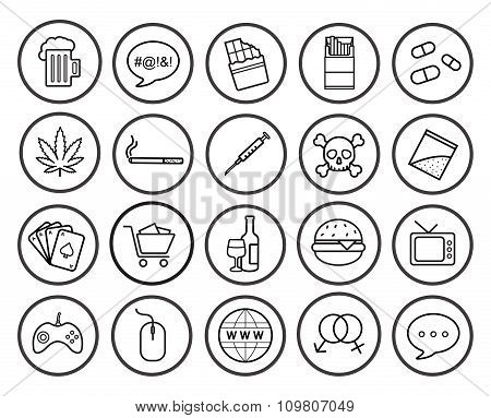 Bad habits linear icons set